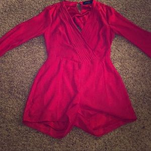 Dresses & Skirts - Akria- Red long-sleeve romper. Brand new.